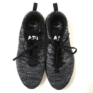 APL Womans Black Cyber Striped Athletic Sneakers